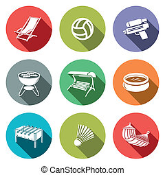 Recreation flat icon set - Recreation icon collection on a ...