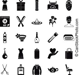 Recreation icons set, simple style