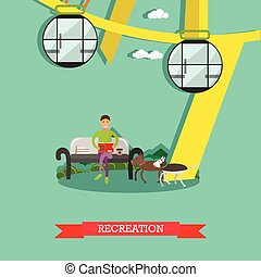 Recreation in amusement park concept vector illustration in flat style