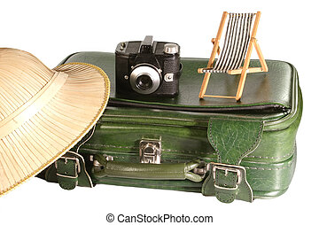Recreation - Old suitcase with safari hat and little deck...