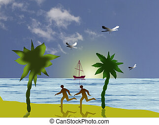 Recreation on beach - illustration