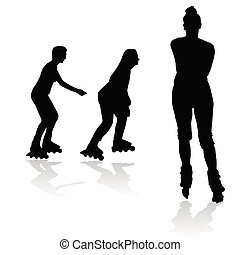 recreation on rollerblades silhouette art illustration of...