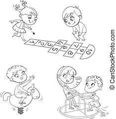 Recreation park. Playground. Kids zone. Place for games. Coloring book