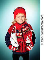 recreation - Portrait of a cute little girl in warm hat and...