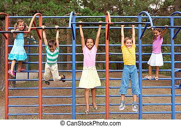 Recreation - Portrait of cute friends having active rest...