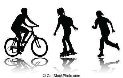 recreation silhouettes - vector