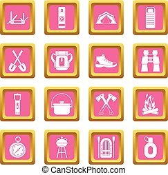 Recreation tourism icons pink