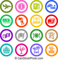 Recreation, Travel & Vacation, icons set. Sport, Tourism....
