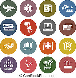 Recreation, Travel & Vacation, icons set - Retro color ...