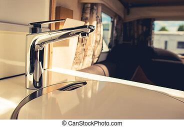 Recreation Vehicle Travel Trailer Sink in Kitchen Area