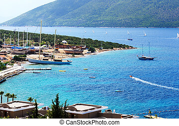 Recreation yachts at the pier on Turkish resort, Bodrum,...