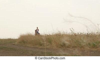 Recreational horseback riding in countryside