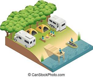 recreational jármű, -ban, tó, isometric, zenemű