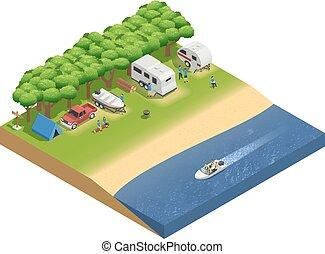 recreational jármű, képben látható, tengerpart, isometric, zenemű