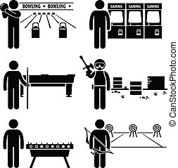 Recreational Leisure Games Clipart - A set of human...