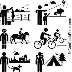 Recreational Outdoor Leisure People - A set of human ...