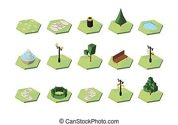 Recreational park design elements isometric 3D vector illustrations set