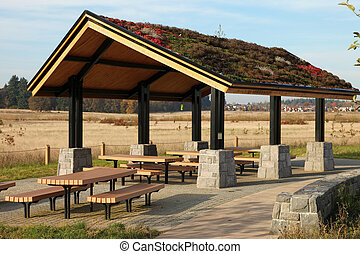 Recreational & picnic area shelter. - Recreational, picnic...