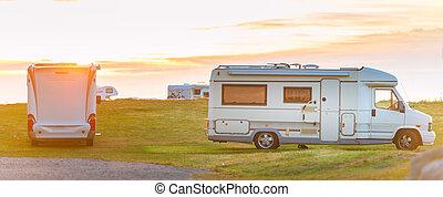 Recreational vehicle at sunset Norway, Europe