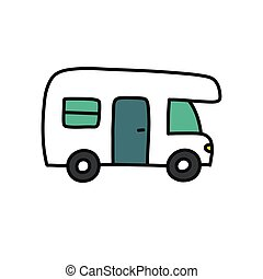 recreational vehicle doodle icon, vector color illustration