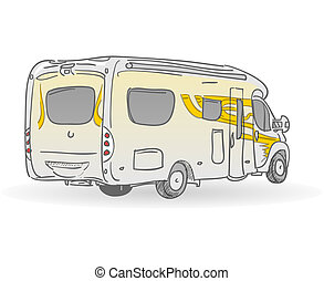 Hand drawn image of european RV from back