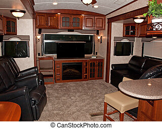 recreational vehicle interior - interior of an recreational...