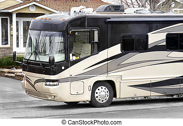 Luxury on wheels, large recreational vehicle ready to go.