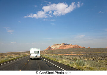Recreational vehicle on the road in Arizona, USA