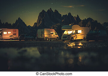 Recreational Vehicle RVs Overnight Alpine Camping