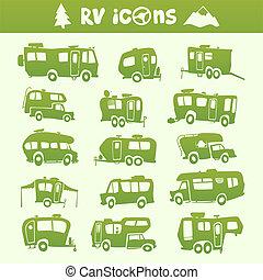 Recreational Vehicle set - Vector green recreational vehicle...