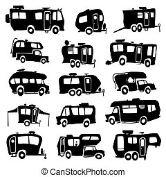 Recreational Vehicles Icons - Vector set of funny cartoon...