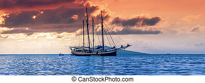 Recreational Yacht at the Indian Ocean. Beautiful sunset....