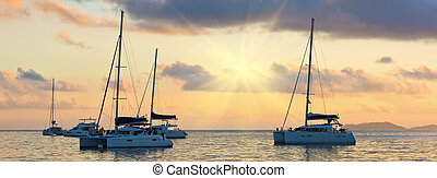 Recreational Yachts at the Indian Ocean. Beautiful sunset....