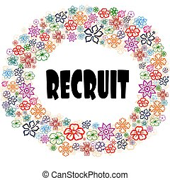 RECRUIT in floral frame.