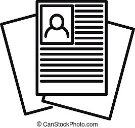 Recruiter paper documents icon. Outline recruiter paper documents vector icon for web design isolated on white background