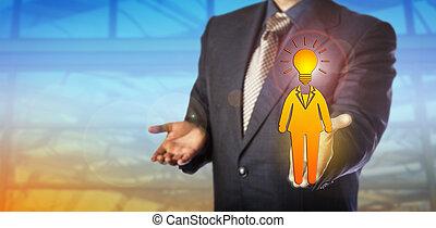 Recruiter Presenting Bright Female Employee
