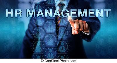 Recruiter Pressing HR MANAGEMENT Onscreen