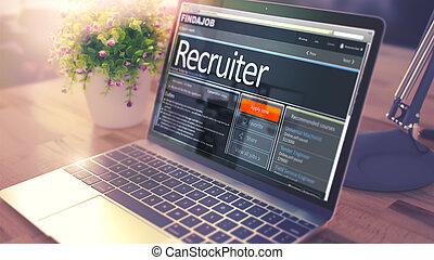 recruiter, -, screen., posto vacante, lavoro, 3d., laptop