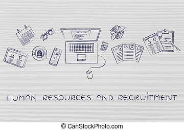 recruiter's desk with resumes and job offer, human resources