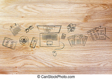 recruiter's desk with resumes and job offer on screen