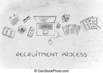 recruiter's desk with resumes and job offer, recruitment process