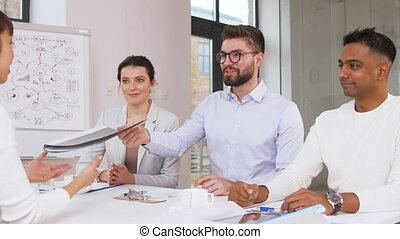 recruiters having interview with employee - job, hiring and...