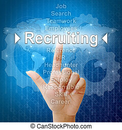 Recruiting, Business concept in word for Human resources