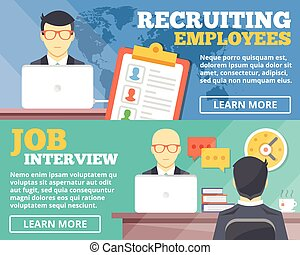 Recruiting employees, job interview flat illustration concepts set. Flat design concepts for web banners, web sites, printed materials, infographics. Creative vector illustration