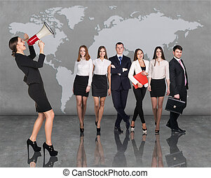 Recruitment agency. Business woman with megaphone standing...