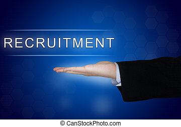 recruitment button with business hand on blue background