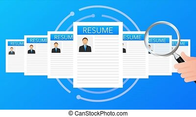Recruitment concept. Hire workers, choice employers search team for job. Resume icon. illustration
