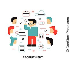 Recruitment, Hiring, The choice of the best suited employee, Flat design, Modern vector illustration concept