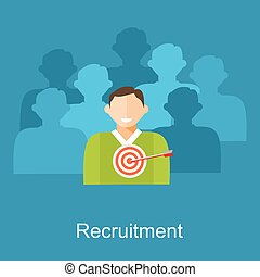 Recruitment illustration. Flat design illustration concepts for human resources, finding employee, recruit candidate.