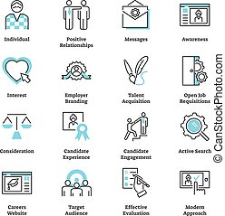 Recruitment marketing icon collection vector set. Hiring talent strategy. Symbols of branding, individual target audience, effective evaluation and positive relationship.